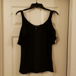 WHBM XS cold shoulder black top